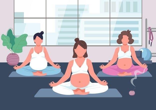 Femmes enceintes qui suivent un cours prénatal de relaxation donné par une sage femme
