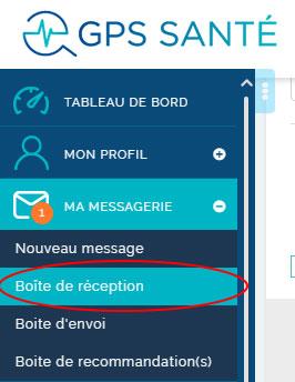 Boite de messagerie pour échanger et envoi/récupération de document médical GPS Santé