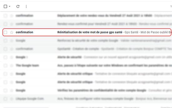 email de réinitialisation de mot de passe